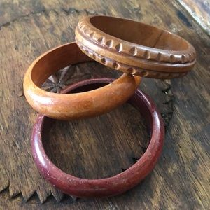 3 Wood Bangle Bracelet Set Lot BOHO